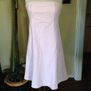 Pink and White Seersucker midi dress